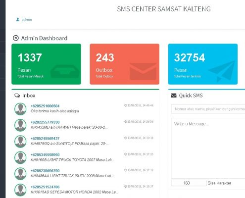 SMS Center Samsat Kalteng Dashboard