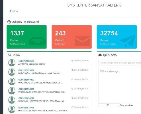 SMS Center Samsat Kalteng Dashboard